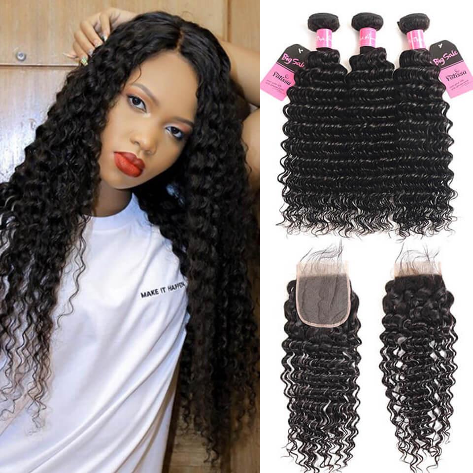 Brazilian 8 30 Inch Deep Wave Virgin Yolissa Hair 3 Bundles With Best Lace Closure 4 4 Yolissa Hair