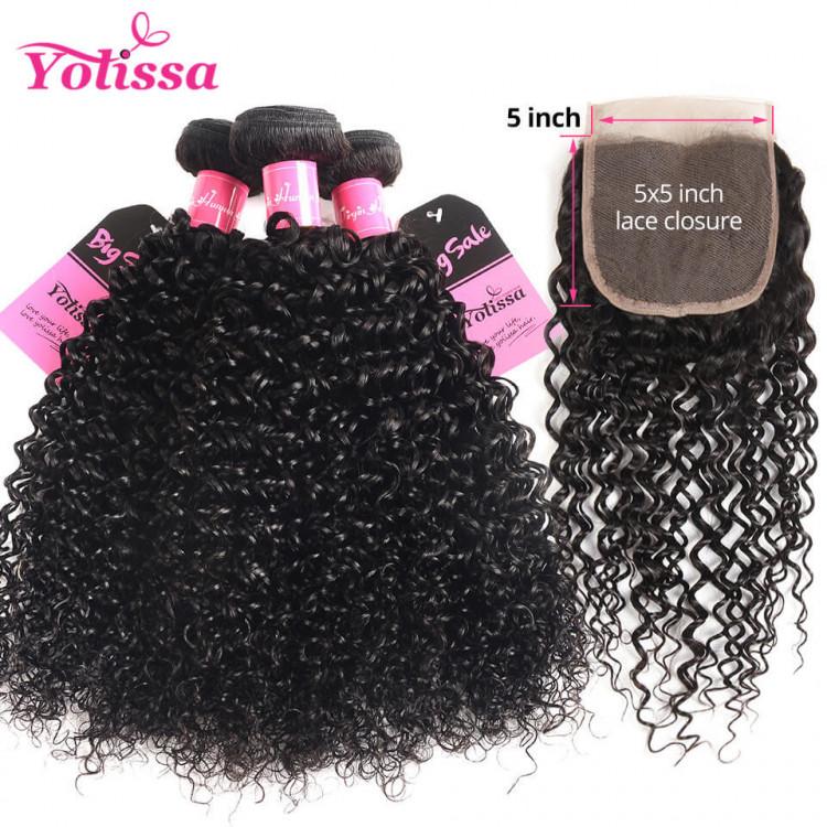 Human Hair Curly 8 30 Inch Bundles With Closure 5 5 Yolissa Hair